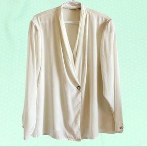 Vintage 80's drapey white blouse